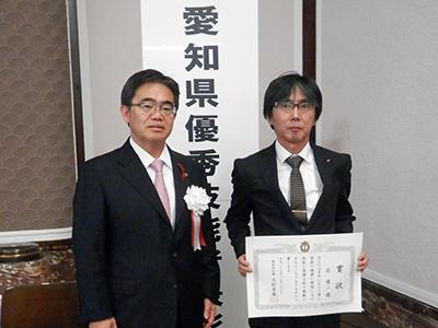 大村愛知県知事(左)と萩俊二